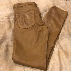 AG super skinny leather like coated jean.